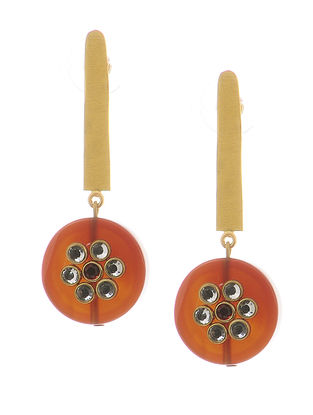 Red Gold-plated Brass and Pearl Earrings