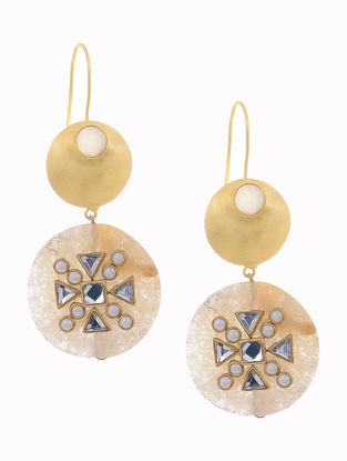 Moonstone and Agate Gold-plated Brass Earrings