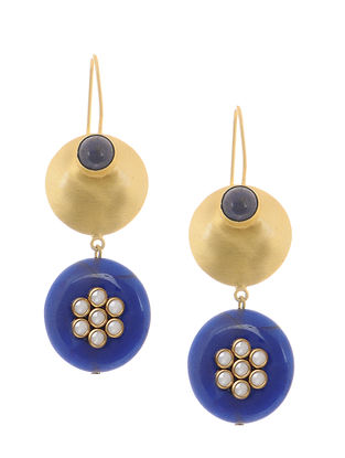 Lapis Gold-plated Brass Earrings