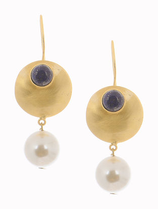 Gold-plated Brass Pearl Earrings