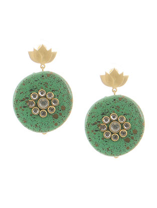 Turquoise Gold-plated Brass Earrings with Lotus Design