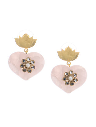 Rose Quartz Gold-plated Brass Earrings with Lotus Design