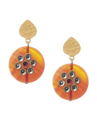 Red Gold-plated Brass Earrings