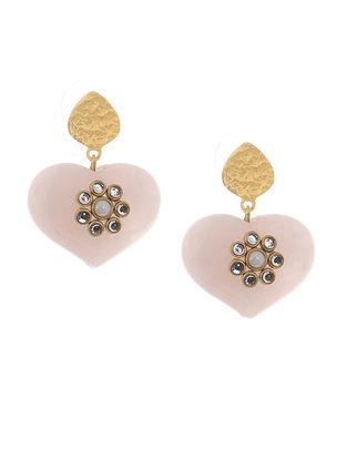 Rose Quartz Gold-plated Brass Earrings