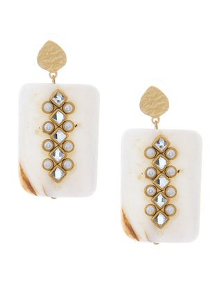 White Mother of Pearl Gold-plated Brass Earrings