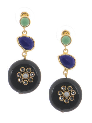 Blue-Green Onyx Gold-plated Brass Earrings