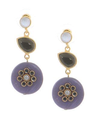 Black-Blue Onyx Gold-plated Brass Earrings