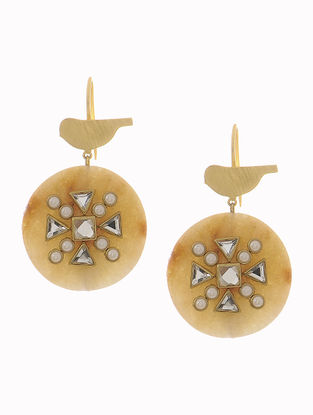Agate Gold-plated Brass Earrings with Bird Design