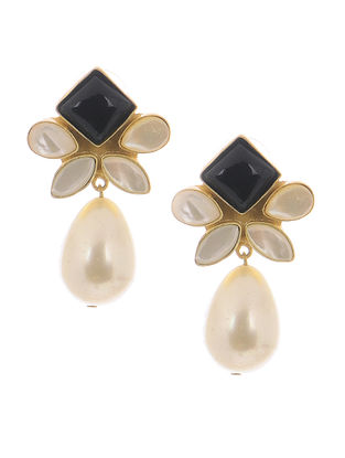 Black Onyx and Mother of Pearl Gold-plated Brass Pearl Earrings