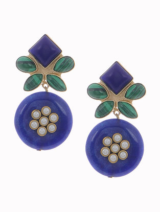 Blue-Green Lapis and Malachite Gold-plated Brass Earrings