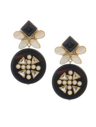 Black-White Onyx and Mother of Pearl Gold-plated Brass Earrings