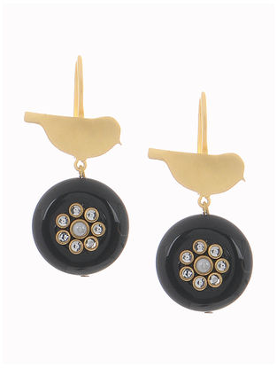 Black Onyx Gold-plated Brass Earrings with Bird Design