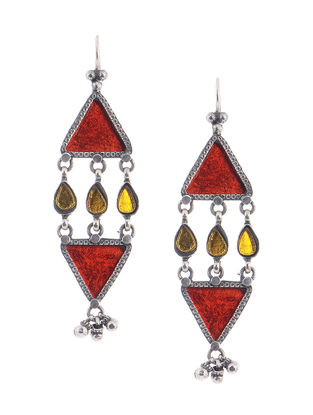Red-Yellow Glass Silver Earrings