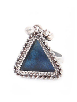 Blue Glass Tribal Silver Adjustable Ring