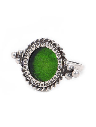 Green Glass Tribal Silver Adjustable Ring