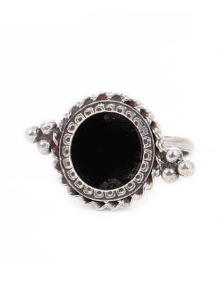 Black Glass Tribal Silver Adjustable Ring