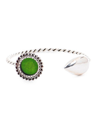 Green Glass Tribal Silver Cuff