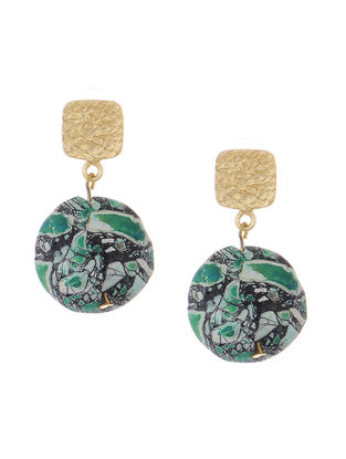 Green Agate Gold-plated Brass Earrings