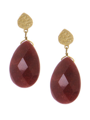 Maroon Agate Gold-plated Brass Earrings