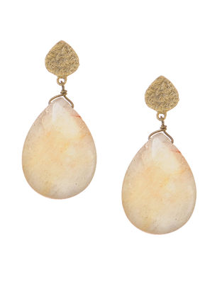 White Quartz Gold-plated Brass Earrings