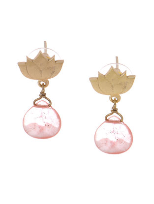 Pink Agate Gold-plated Brass Earrings