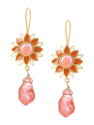 Pink Onyx and Agate Gold-plated Brass Earrings