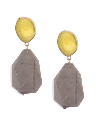 Yellow-Grey Amorphus and Agate Gold-plated Brass Earrings