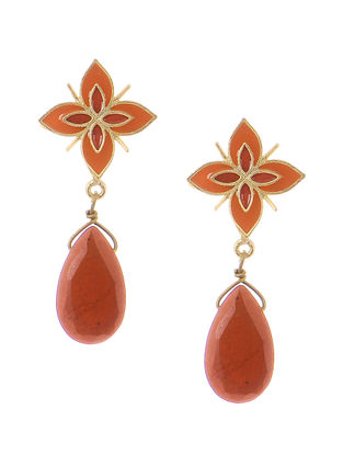 Red Agate Gold-plated Brass Earrings
