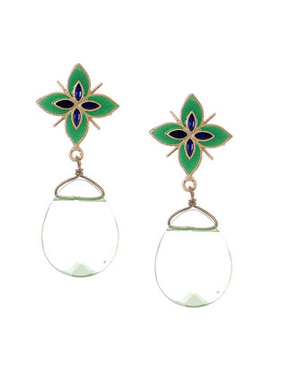 Green Gold-plated Brass Earrings