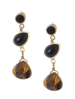 Black Onyx and Tiger Eye Gold-plated Brass Earrings
