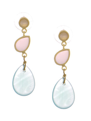 Pink- Blue Rose Quartz and Calecedony Gold-plated Brass Earrings