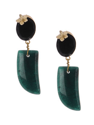 Black Onyx and Agate Gold-plated Brass Earrings