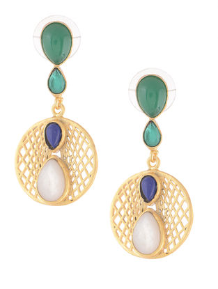 Blue-Green Gold-plated Brass Earrings