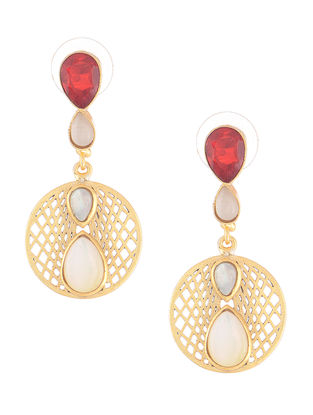 Red-White Gold-plated Brass Earrings