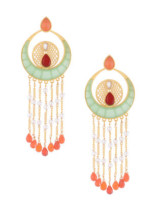 Green-Orange Gold-plated Brass Beaded Earrings