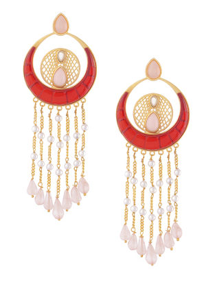Red-White Gold-plated Brass Beaded Earrings
