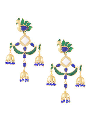 Green-Blue Gold-plated Brass Beaded Jhumkis