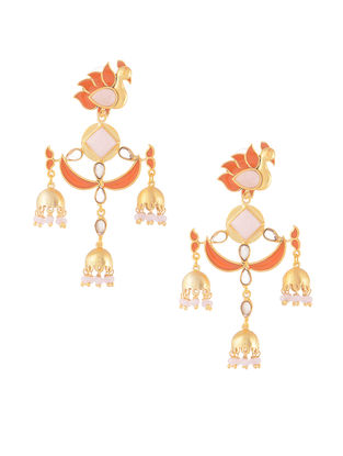 Orange-Pink Gold-plated Brass Beaded Jhumkis