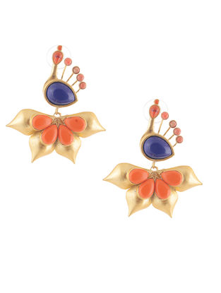 Blue-Orange Gold-plated Brass Earrings with Peacock Design