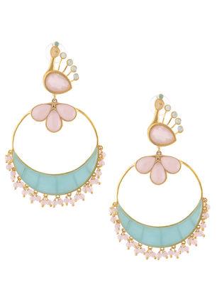Aqua-Pink Gold-plated Brass Beaded Earrings with Peacock Design
