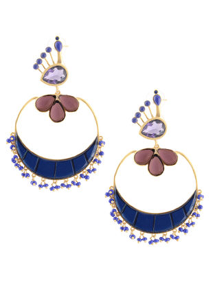 Purple-Blue Gold-plated Brass Beaded Earrings with Peacock Design