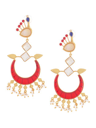 Red-White Gold-plated Brass Beaded Earrings with Peacock Design