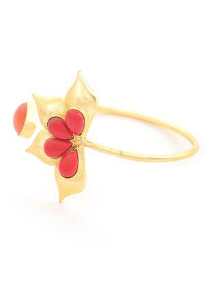 Red-Orange Gold-plated Brass Adjustable Cuff