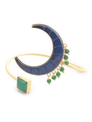 Green-Blue Gold-plated Brass Beaded Adjustable Cuff