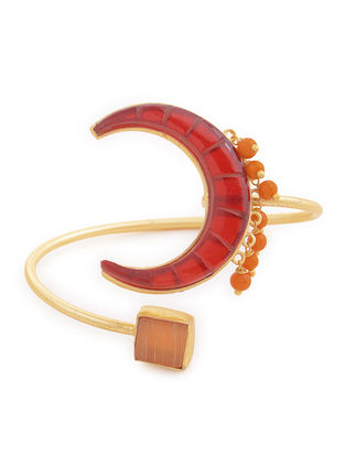 Red-Orange Gold-plated Brass Beaded Adjustable Cuff