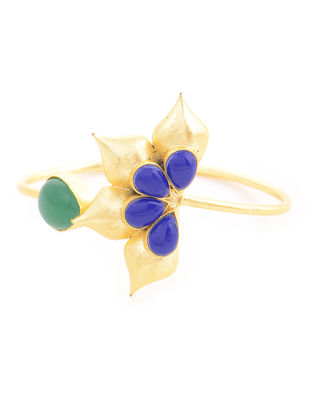 Green-Blue Gold-plated Brass Adjustable Cuff