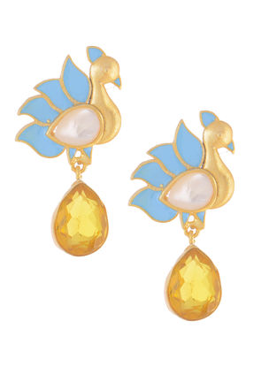 Blue-Yellow Gold-plated Brass Earrings with Peacock Design