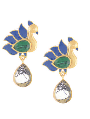 Green-Blue Gold-plated Brass Earrings with Peacock Design