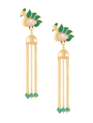 Green-White Gold-plated Brass Beaded Jhumkis