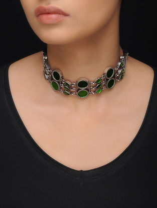 Green Glass Silver Necklace